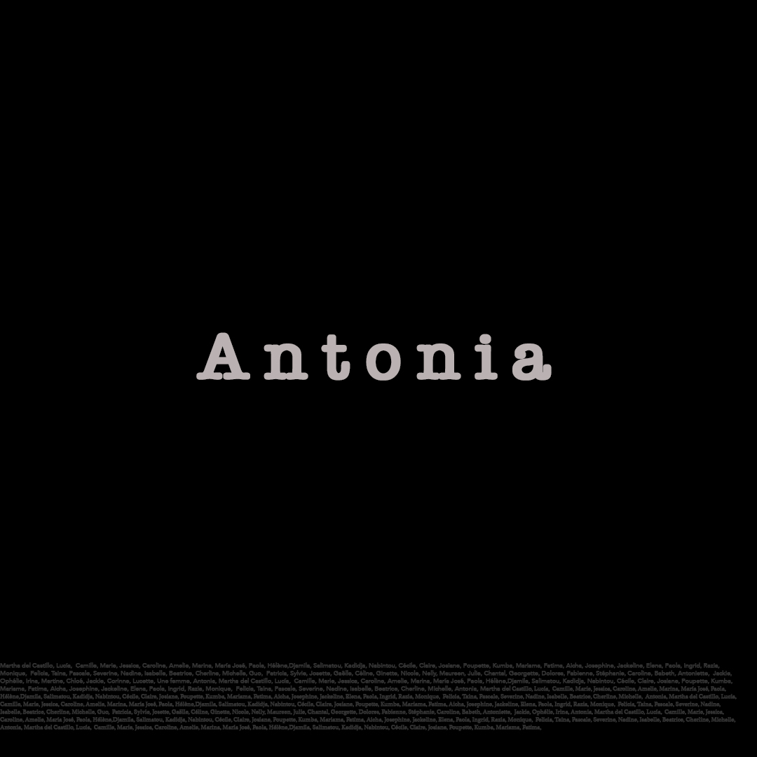 Triptyque. The name, Antonia. Olenka Carrasco. The firstnames list.