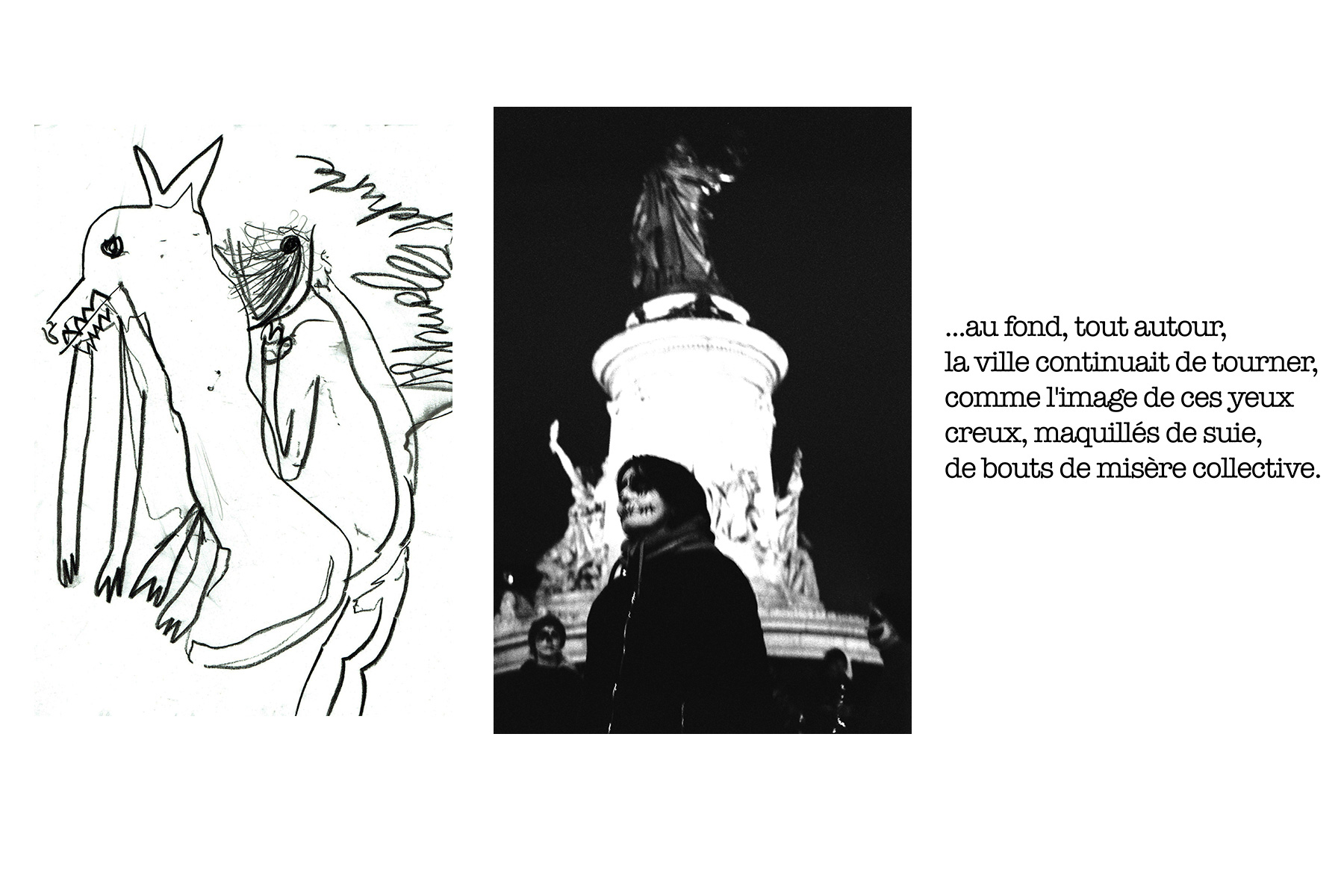 Triptyque. Drawing Photo Text. Manifestation Victims. Olenka Carrasco. The firstnames list